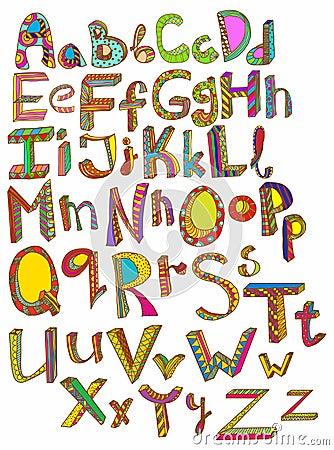 Color hand drawn alphabet