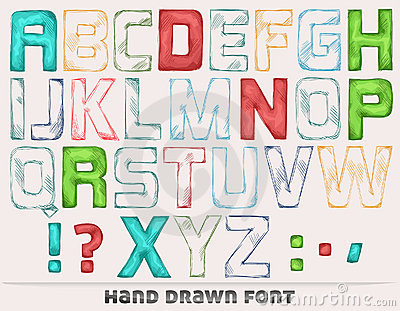 Color hand drawn font