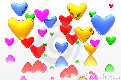 Color hearts background