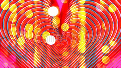 Color hearts pulsate on blinking background stock video footage
