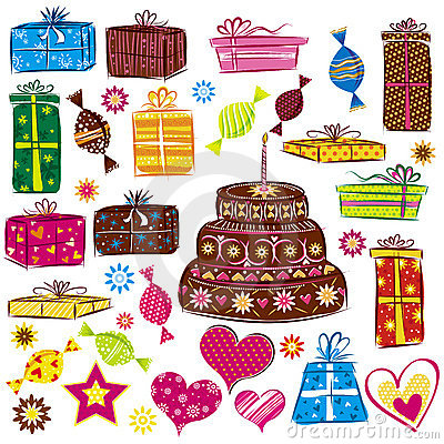 Color holidays gifts, vector