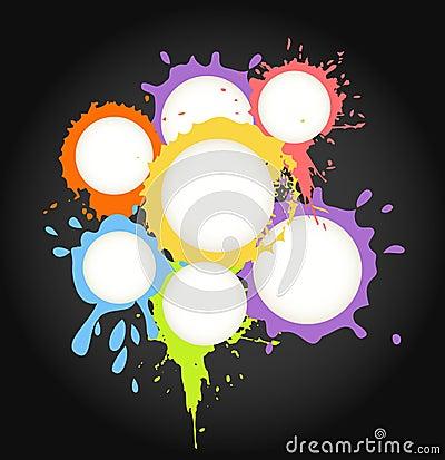 Color ink blots speech clouds