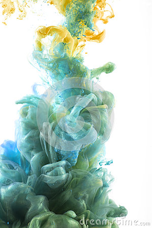 Free Color Ink Drop In Water. Bue, Green, Yellow Stock Image - 48218981
