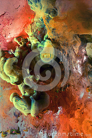 Free Color Ink Drop In Water. Red, Orange, Green, Yellow Royalty Free Stock Images - 49403309