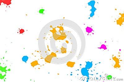 Color ink splatters