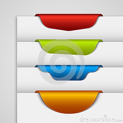 Color label bookmark on the edge of the web page