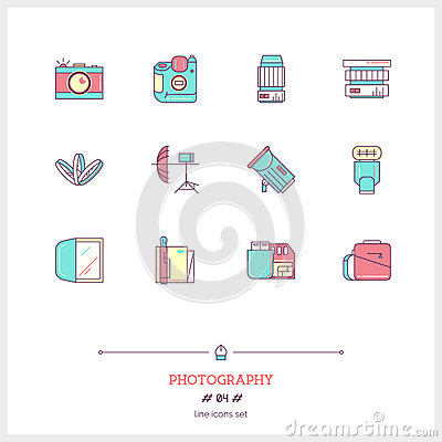 Free Color Line Icon Set Of Photography Equipment, Objects And Tools Stock Photography - 67597242