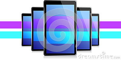 Color lines set of electronic Tablets illustration