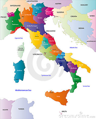 Color map of Italy