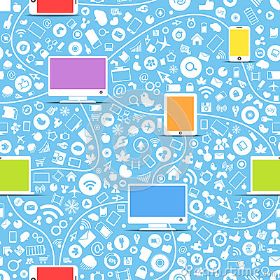 Color modern gadgets and media icons