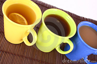 Color mug (with tea and coffee
