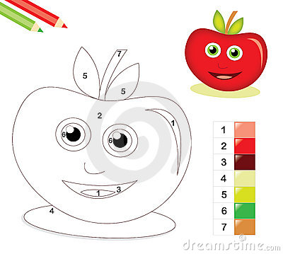 Color by number game with apple