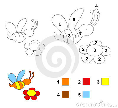 Color by number game: The bee and flower
