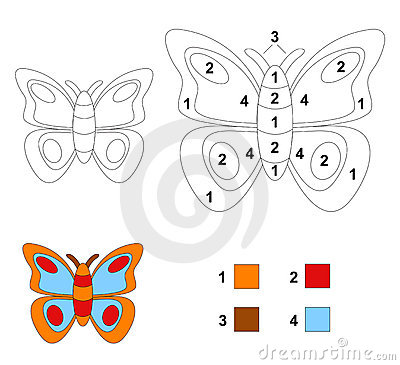 Color by number game: The butterfly
