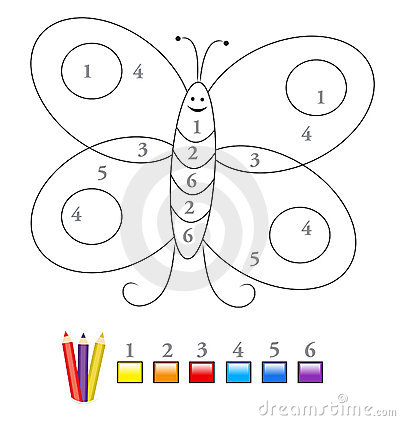 Color by number game: butterfly
