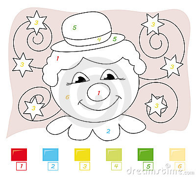 Color by number game: clown