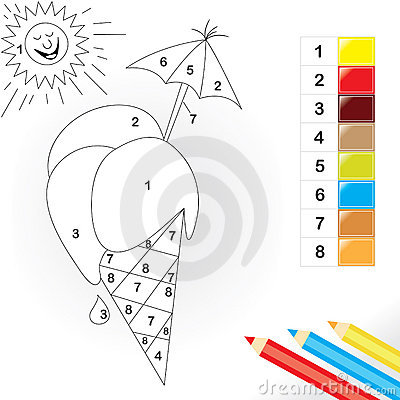 Color by number game for kids