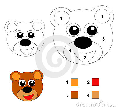 Color by number game: The teddy bear