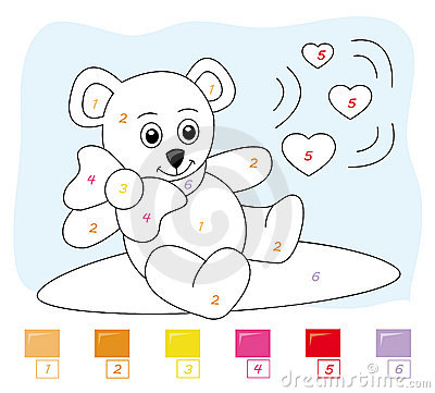 Color by number game: teddy bear
