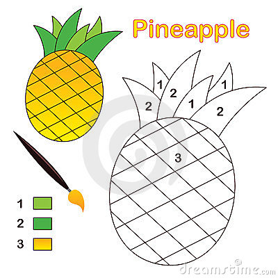 Color by number: pineapple