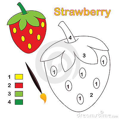 Color by number: strawberry