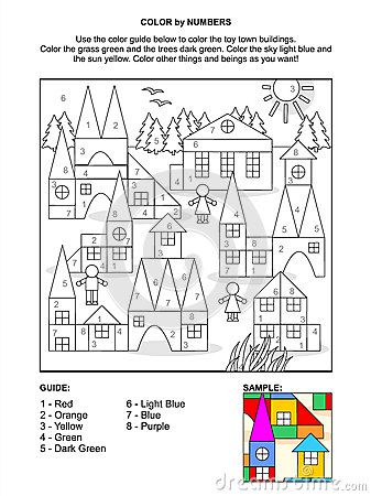 Color by numbers activity page - toy town