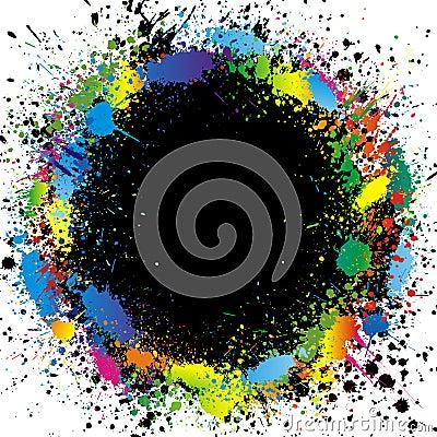 Color paint splashes border. Gradient vector backg