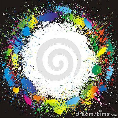 Color paint splashes border. Vector background