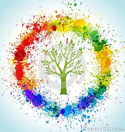 Color paint splashes eco background