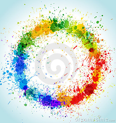 Free Color Paint Splashes Round Background Stock Image - 17544441