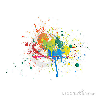 Color Paint Splashes On White Background