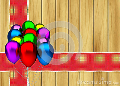 Color party balloons and red ribbon on wooden background