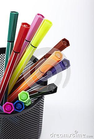 Free Color Pen, Pen Holder Inside Royalty Free Stock Photo - 40655725
