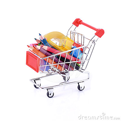 Free Color Pencils And Some Stationery In Shopping Cart Stock Images - 24330834