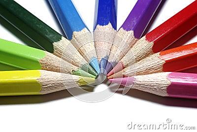Color pencils as half-circle.