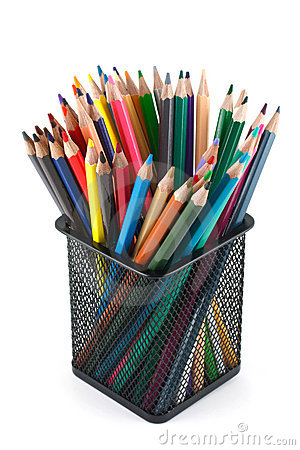 Color pencils in the basket