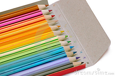 Color pencils in the case
