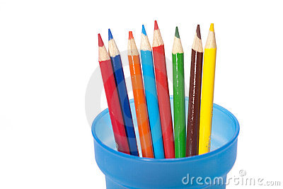 Color pencils in a cup.
