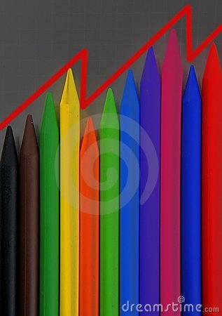 Color pencils graphic chart, earnings report