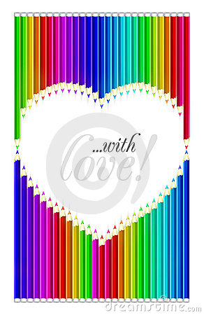 Color pencils heart shaped