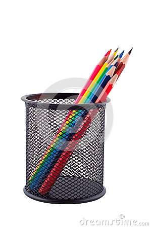 Color pencils isolated white.