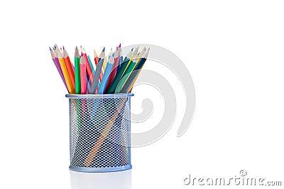 Color pencils in a jar