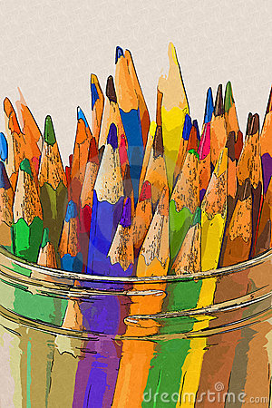 Color pencils in a jar - Drawing style
