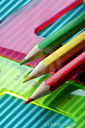Free Color Pencils On A Rulers Background Stock Photography - 1115542