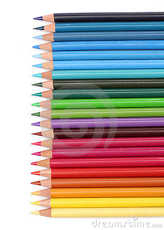 Color pencils over white