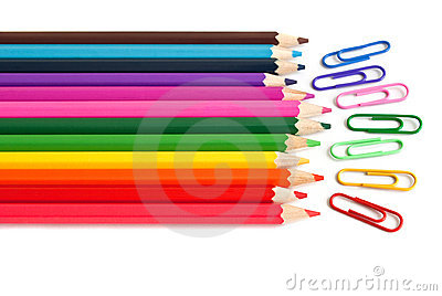 Color pencils and paper clips, office stationery