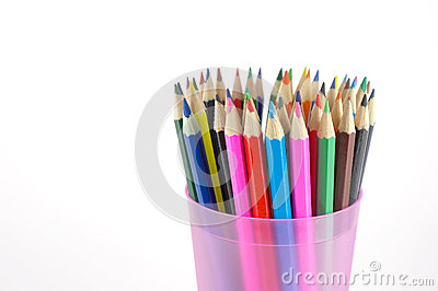 Color pencils in the pink prop
