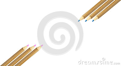 Color pencils on white background isolated