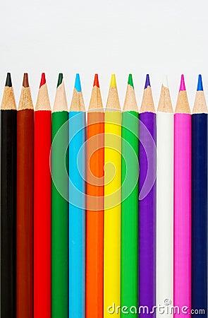 Color pencils on white paper