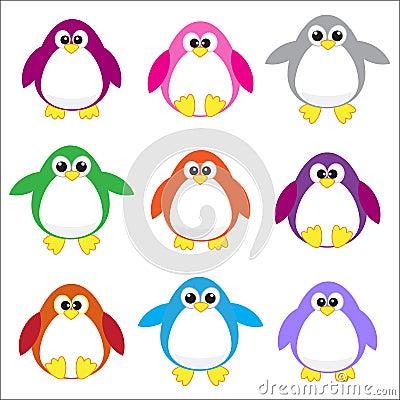 Color penguins clip art